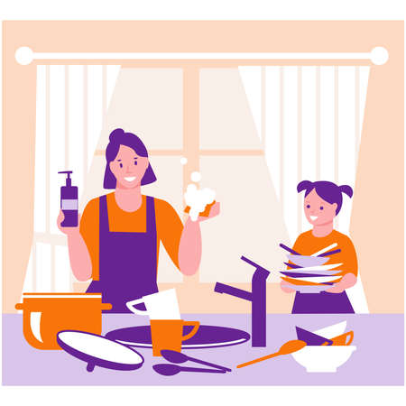 The family is cleaning the kitchen. Mother and daughter washes the dishes. The concept of housekeeping, helping parents. Vector illustration in flat.