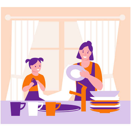 Mother and daughter are wiping the washed dishes. The concept of helping parents, household, joint affairs. Vector illustration in flat cartoon.