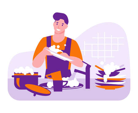 The man washes the dishes. Household vector concept. Illustration in flat cartoon.