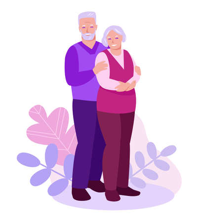 Elderly couple on a background of leaves, plants. The concept of relationships, care, support in old age. Vector illustration in flat cartoon.