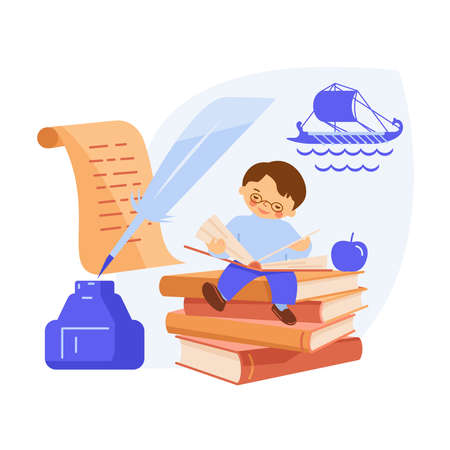 Literature study concept. The boy sits on a stack of books, reads.
