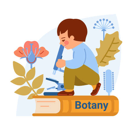 The concept of studying botany, biology. The boy looks through a microscope. Textbook, types of inflorescences, leaves.