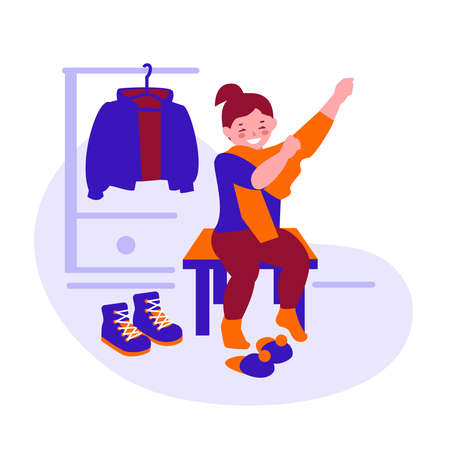 Little girl gets dressed for a walk. Puts on a sweater. Vector illustration in flat cartoon.