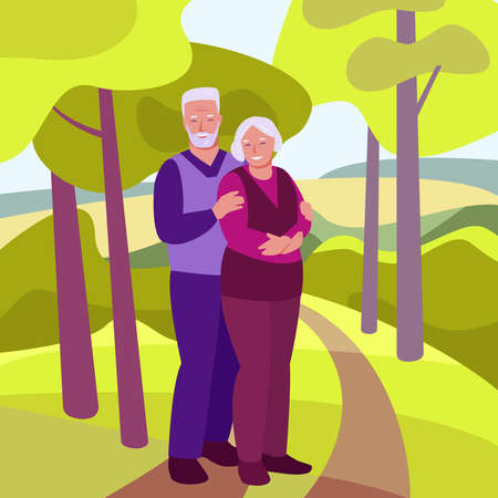 Happy elderly couple on the background of the spring summer landscape. The concept of family, happy relationships, support, care. Vector illustration in flat cartoon. Illusztráció