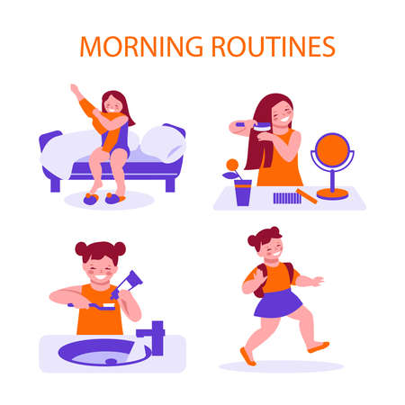 The daily morning routine of a little girl, she wakes up, combes her hair, washes, dresses and goes to school (kindergarten). Set of vector illustrations in flat cartoon.