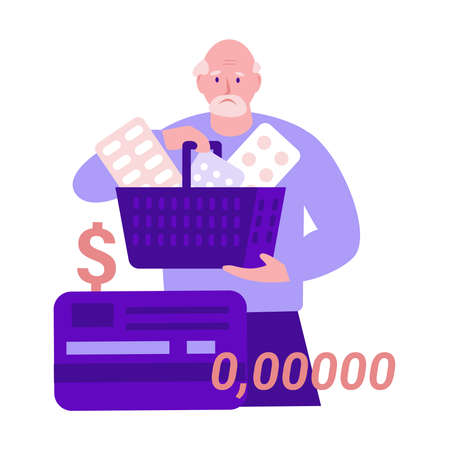 A sad elderly man with pills, medicines in a shopping basket spent all the money on treatment. No credit card money. Vector illustration in flat style. Векторная Иллюстрация