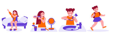 The daily morning routine of a little girl, she wakes up, combes her hair, washes, dresses and goes to school kindergarten . Set of vector illustrations in flat cartoon style.