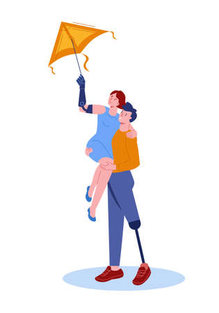 A guy with a prosthetic leg holds a girl with a bionic prosthetic arm in his arms. They are flying a kite. Vector illustration in flat style. Isolated on.