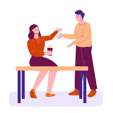 Friends, colleagues, the guy and the girl met and greet each other. Vector illustration in flat cartoon style. Isolated on a white.