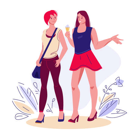 Two female friends walking in the summer, chat, spend time together. Happy girlfriends outdoors eating ice cream. Vector illustration in flat style.