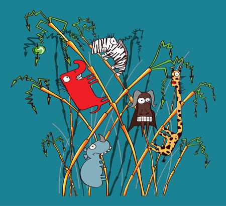 Funny safari animals Illustration
