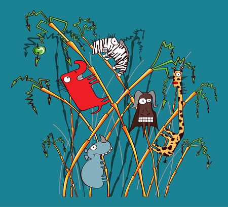 Funny safari animals Illustration