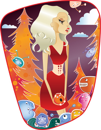 Blond woman with monsters Illustration