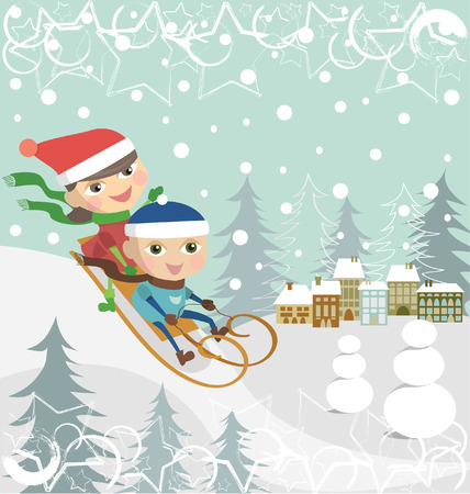 Children on a sledge Illustration