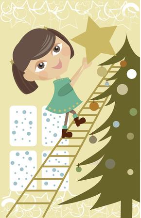 Christmas tree and a little gilt Illustration