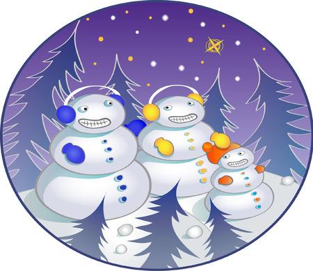 Snowman family Illustration