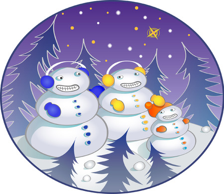Snowman family Illustration