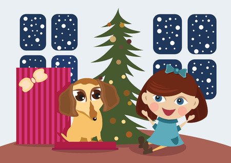Puppy a Christmas gift Illustration
