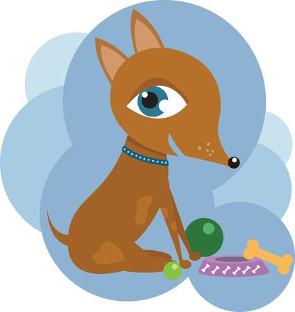 Dog with toys Illustration