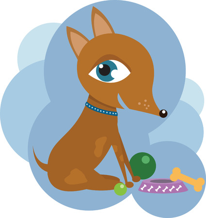 Dog with toys Illustration