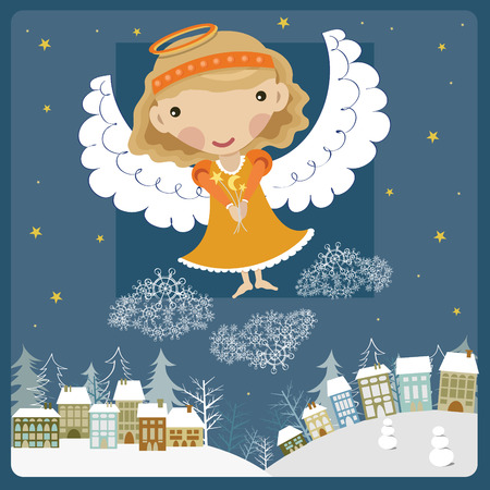 Angel above the town Illustration
