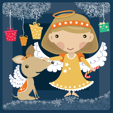 Angel with dog and presents