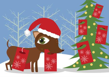 Dog with Christmas presents Illustration
