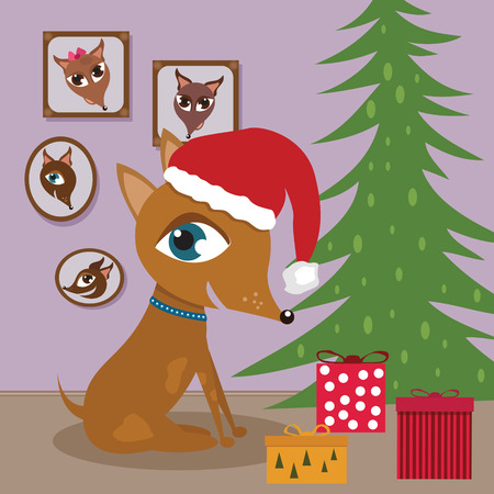 Doggy with Christmas presents Illustration