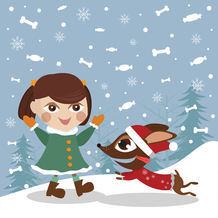 Girl with a dog Vector