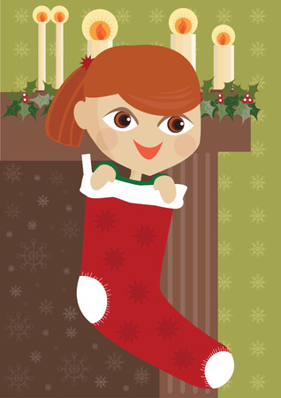 Girl in stocking Illustration