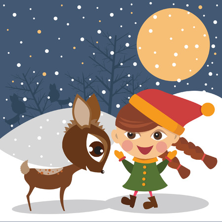 Girl with the reindeer  Illustration
