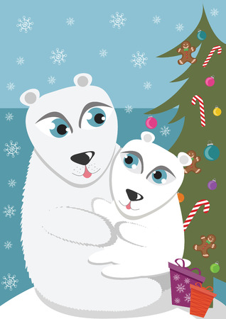 Mother and baby polar bear