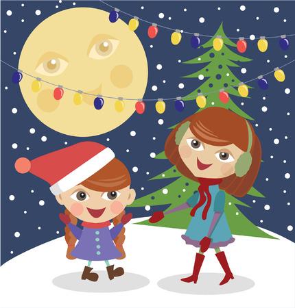 Girls and Christmas tree Illustration