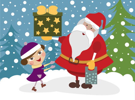 Girl with Santa Clause