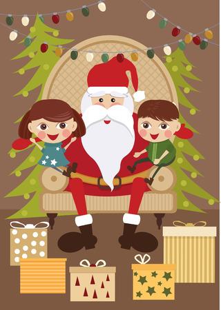 Santa Claus with kids