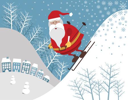 Skiing Santa Stock Vector - 8324277