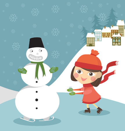 Girl skates with snowman Illustration
