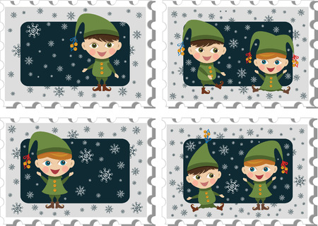 Stamps with elves Vector
