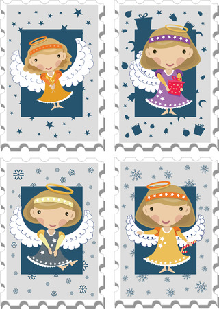 Stamps with Angels Illustration