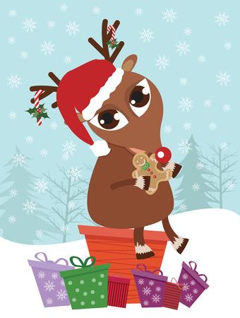 deer sitting on a present