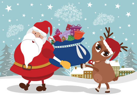 Santa and deer with presents