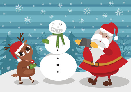 deer and Santa making snowman Illustration