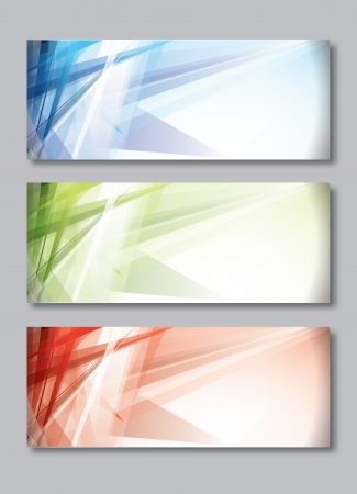 Set of Three Banners, Abstract Headers.  Vector