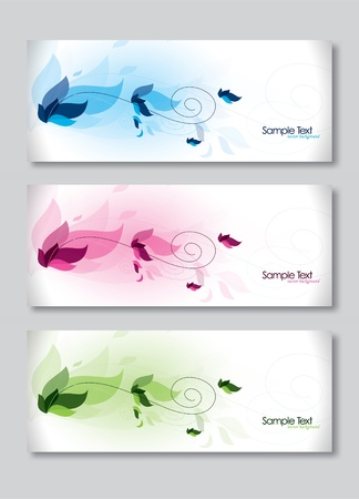 Set of Three Banners. Abstract Headers.  Vector