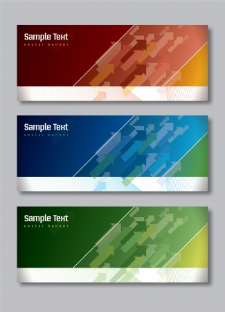 Set of Three Banners  Abstract Vector Headers     Vector