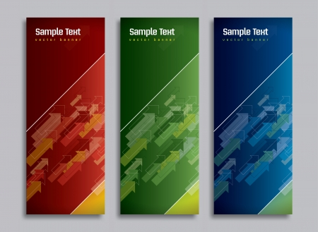 Set of Three Banners  Abstract Vector Headers