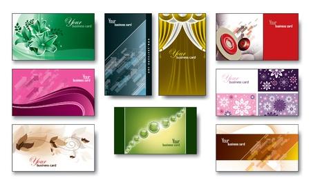 Visitekaartjes Gift Cards Set van 9 Eps10
