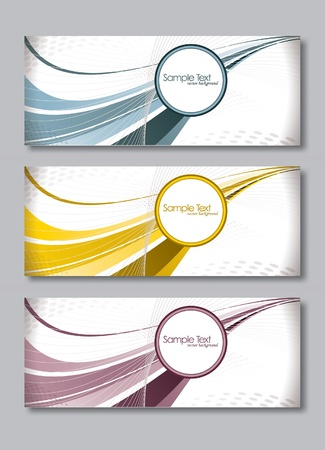 business cards: Set of Three Banners  Abstract Vector Headers