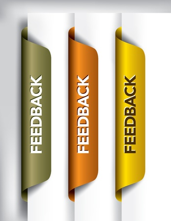 email icon: Feedback Labels And Stickers on the edge of the page  Vector Illustration
