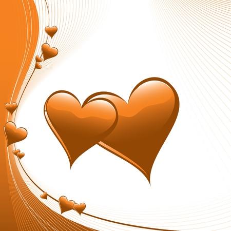orange swirl: Hearts  Illustration